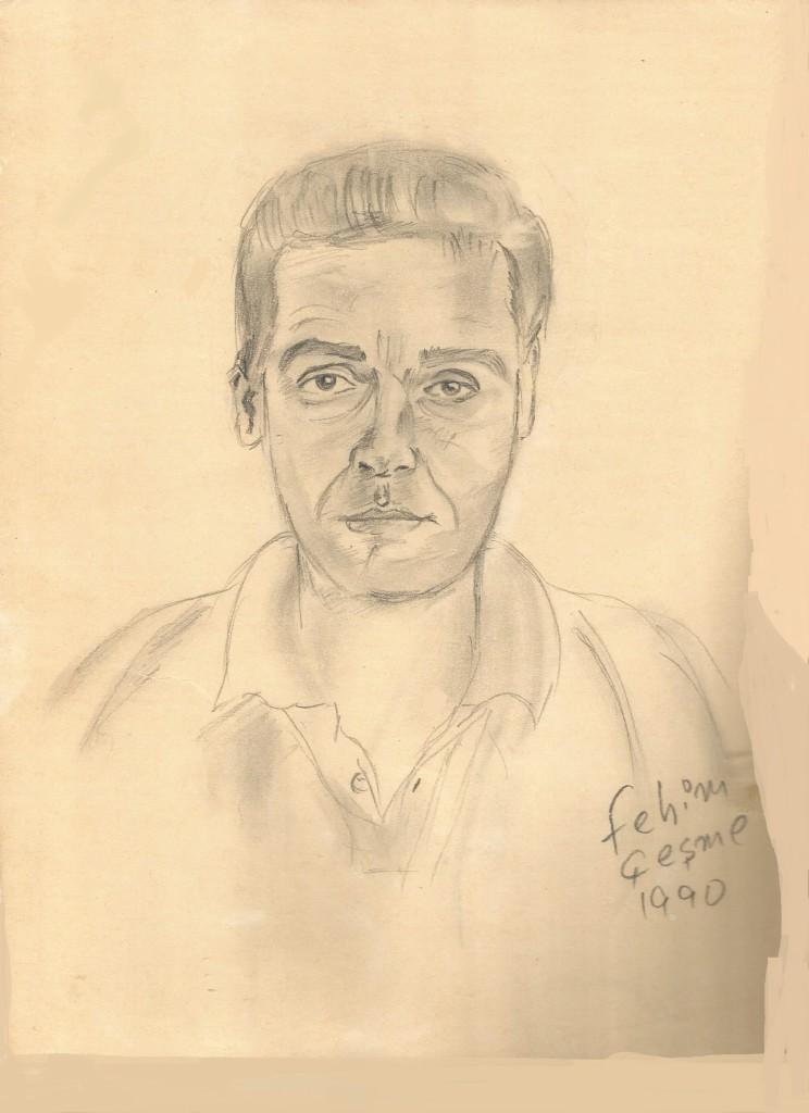 Fehim İmzalı bir portresi çeşmede 1990 yılına ait