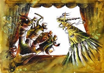 Oğuz Demir Karikatürü serginin afiş ve davetiyesinde