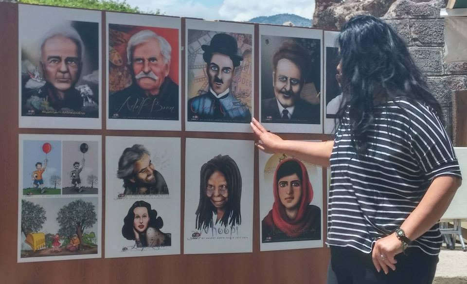 Saadet Demir yalçın ve katılımcı karikatürcülerin portreleri