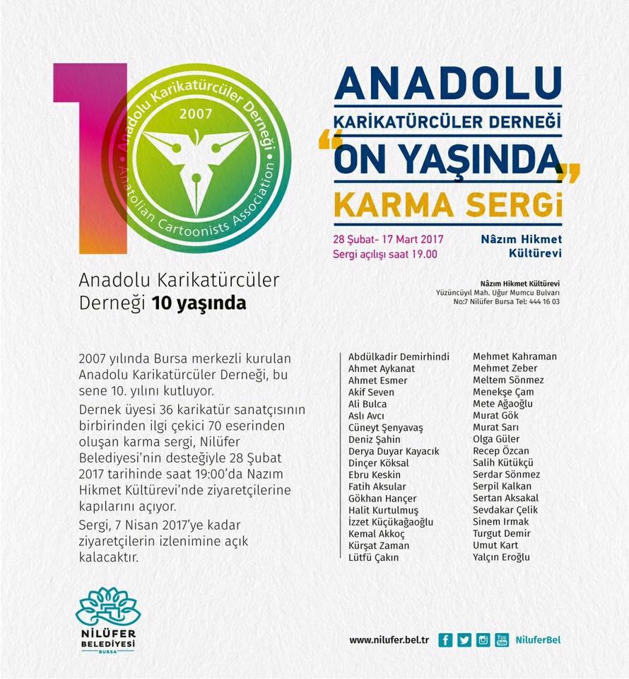 Anadolu Karikatürcüler Derneğinin sergi afişi